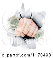 Cartoon Of A Fist With Cash Punching Through A Wall Royalty Free Vector Clipart