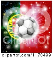Clipart Of A Soccer Ball Over A Portugal Flag With Fireworks Royalty Free Vector Illustration