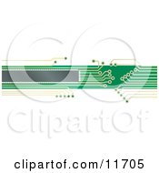Internet Web Banner Of A Green And Yellow Circuit Board