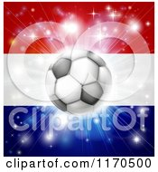 Clipart Of A Soccer Ball Over A Netherlands Flag With Fireworks Royalty Free Vector Illustration