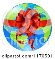 Clipart Of A Bright Globe With A Red Ribbon And Bow Royalty Free Vector Illustration
