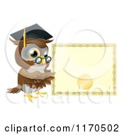 Cartoon Of A Professor Owl With A Diploma And Graduation Cap Royalty Free Vector Clipart by AtStockIllustration