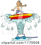 Cartoon Of A Pitbull Dog Surfing On Sprinkler Spray Royalty Free Vector Clipart by LaffToon