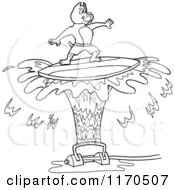 Cartoon Of An Outlined Pitbull Dog Surfing On Sprinkler Spray Royalty Free Vector Clipart