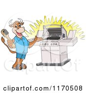 Cartoon Of A Happy Cow Holding A Steel Brush And Presenting A Bbq Grill Royalty Free Vector Clipart
