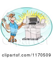 Cartoon Of A Happy Cow Holding A Steel Brush And Presenting A Bbq Grill In An Oval Royalty Free Vector Clipart