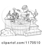 Outlined Chef Bull Pouring Bbq Sauce On A Female Pig And Chicken In A Hot Tub