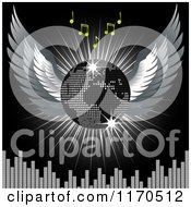 Clipart Of A 3d Winged Disco Ball Globe With Music Notes And A Burst Over An Equalizer On Black Royalty Free Vector Illustration
