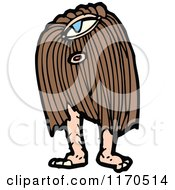 Cartoon Of A Hairy Monster Royalty Free Vector Illustration
