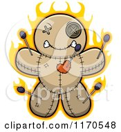 Cartoon Of A Burning Voo Doo Doll Royalty Free Vector Clipart