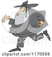 Cartoon Of A Rabbi Man Running And Glancing Back Royalty Free Vector Clipart by djart
