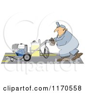 Cartoon Of A Parking Lot Striper Worker Operating A Machine Royalty Free Vector Clipart by Dennis Cox