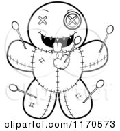 Cartoon Clipart Of A Hungry Voo Doo Doll Vector Outlined Coloring Page by Cory Thoman
