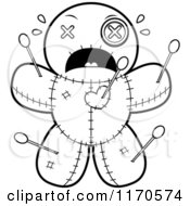Cartoon Clipart Of A Scared Voo Doo Doll Vector Outlined Coloring Page