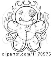 Cartoon Clipart Of A Burning Voo Doo Doll Vector Outlined Coloring Page