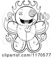 Cartoon Clipart Of A Grinning Voo Doo Doll Vector Outlined Coloring Page