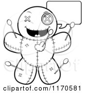 Cartoon Clipart Of A Talking Voo Doo Doll Vector Outlined Coloring Page