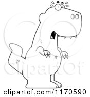 Cartoon Clipart Of A Frightened Tyrannosaurus Rex Dinosaur Vector Outlined Coloring Page