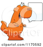 Cartoon Of A Talking Tyrannosaurus Rex Dinosaur Royalty Free Vector Clipart
