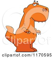 Cartoon Of A Depressed Tyrannosaurus Rex Dinosaur Royalty Free Vector Clipart