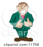 Friendly Boss Giving Two Thumbs Up Clipart Illustration