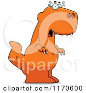 Cartoon Of A Frightened Tyrannosaurus Rex Dinosaur Royalty Free Vector Clipart
