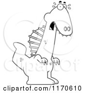 Cartoon Clipart Of A Frightened Spinosaurus Dinosaur Vector Outlined Coloring Page