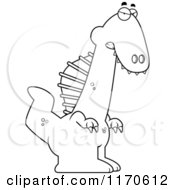 Cartoon Clipart Of A Mad Spinosaurus Dinosaur Vector Outlined Coloring Page