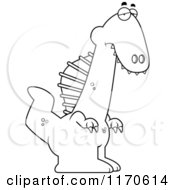 Cartoon Clipart Of A Depressed Spinosaurus Dinosaur Vector Outlined Coloring Page
