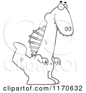 Cartoon Clipart Of A Happy Spinosaurus Dinosaur Vector Outlined Coloring Page