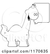 Cartoon Clipart Of A Happy Talking Apatosaurus Dinosaur Vector Outlined Coloring Page by Cory Thoman