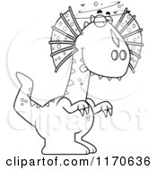 Cartoon Clipart Of A Drunk Or Dumb Dilophosaurus Dinosaur Vector Outlined Coloring Page by Cory Thoman