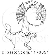 Cartoon Clipart Of A Sleeping Dilophosaurus Dinosaur Vector Outlined Coloring Page by Cory Thoman