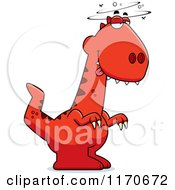 Cartoon Of A Drunk Or Dumb Velociraptor Dinosaur Royalty Free Vector Clipart