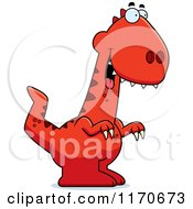 Cartoon Of A Drunk Or Dumb Velociraptor Dinosaur Royalty Free Vector Clipart