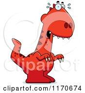 Cartoon Of A Frightened Velociraptor Dinosaur Royalty Free Vector Clipart