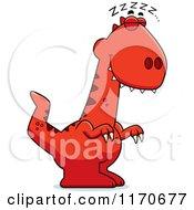 Cartoon Of A Sleeping Velociraptor Dinosaur Royalty Free Vector Clipart