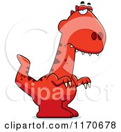 Cartoon Of A Depressed Velociraptor Dinosaur Royalty Free Vector Clipart