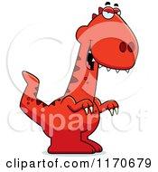 Cartoon Of A Sly Velociraptor Dinosaur Royalty Free Vector Clipart