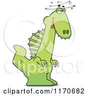 Cartoon Of A Drunk Or Dumb Spinosaurus Dinosaur Royalty Free Vector Clipart by Cory Thoman