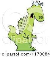 Cartoon Of A Frightened Spinosaurus Dinosaur Royalty Free Vector Clipart by Cory Thoman