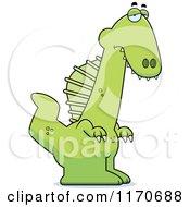 Cartoon Of A Depressed Spinosaurus Dinosaur Royalty Free Vector Clipart by Cory Thoman