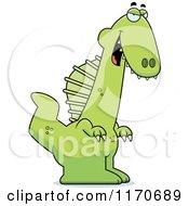 Cartoon Of A Sly Spinosaurus Dinosaur Royalty Free Vector Clipart by Cory Thoman