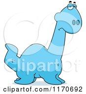 Cartoon Of A Depressed Plesiosaur Dinosaur Royalty Free Vector Clipart by Cory Thoman