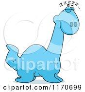 Cartoon Of A Sleeping Plesiosaur Dinosaur Royalty Free Vector Clipart by Cory Thoman