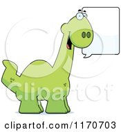 Cartoon Of A Happy Talking Apatosaurus Dinosaur Royalty Free Vector Clipart by Cory Thoman