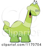 Cartoon Of A Hungry Apatosaurus Dinosaur Royalty Free Vector Clipart