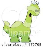 Cartoon Of A Frightened Apatosaurus Dinosaur Royalty Free Vector Clipart by Cory Thoman