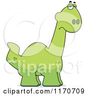 Cartoon Of A Depressed Apatosaurus Dinosaur Royalty Free Vector Clipart by Cory Thoman