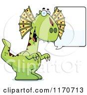 Cartoon Of A Happy Talking Dilophosaurus Dinosaur Royalty Free Vector Clipart by Cory Thoman